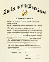 NAVY LEAGUE OF THE UNITED STATES CERTIFICATE OF ADOPTION