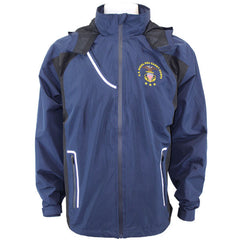 U.S. Naval Sea Cadets Mens Blue Waterproof Jacket with Rollaway Hood