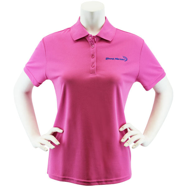 Ladies Pink Performance Polo Shirt Embroidered with Royal Blue Young Marines Swoosh