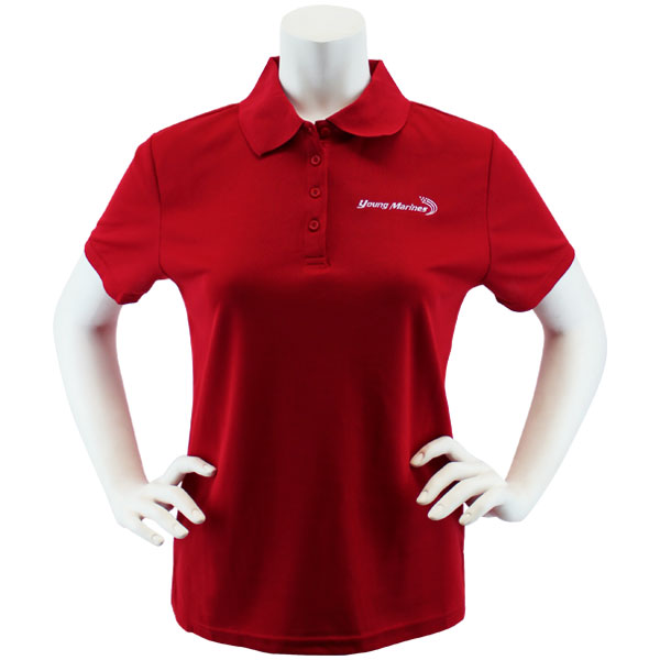 f075753a8 Ladies Red Performance Polo Shirt Embroidered with White Young Marines  Swoosh