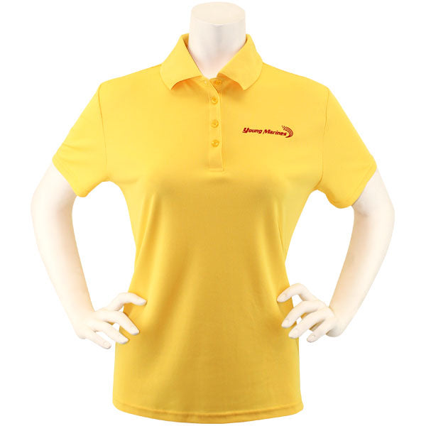 Ladies Campus Gold Performance Polo Shirt Embroidered with Red Young Marines Swoosh