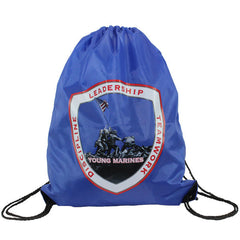 Young Marines Large Drawstring Backpack Blue