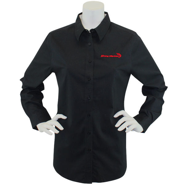 68c51fefbb0 Men's Black Long Sleeve Oxford Shirt With Red Young Marines Swoosh Logo