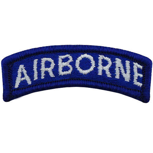 Army Embroidered Tab: Airborne - white letters on blue