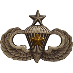 Army Badge: Senior Combat Parachute Fifth Award - silver oxidized