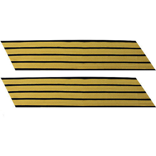 Army Service Stripe: Gold Embroidered on Blue - male, set of 4