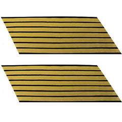Army Service Stripe: Gold Embroidered on Blue - male, set of 7