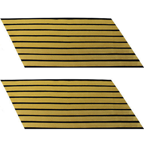 Army Service Stripe: Gold Embroidered on Blue - male, set of 8