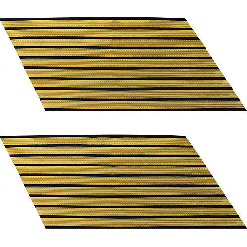 Army Service Stripe: Gold Embroidered on Blue - male, set of 9