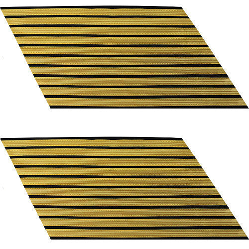 Army Service Stripe: Gold Embroidered on Blue - male, set of 10