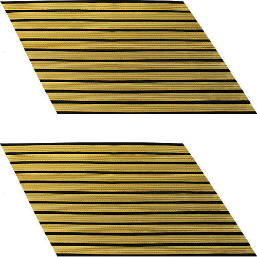 Army Service Stripe: Gold Embroidered on Blue - male, set of 11