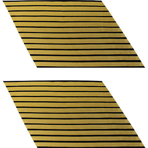 Army Service Stripe: Gold Embroidered on Blue - male, set of 12