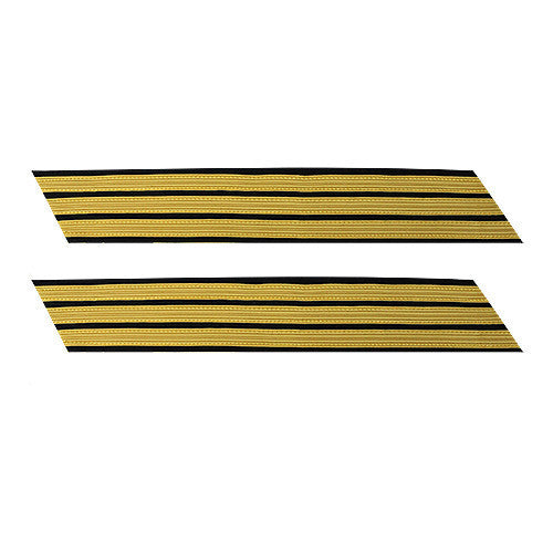 Army Service Stripe: Gold Embroidered on Blue - female, set of 3