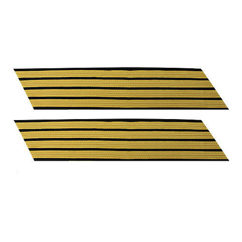 Army Service Stripe: Gold Embroidered on Blue - female, set of 4