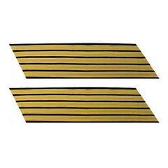 Army Service Stripe: Gold Embroidered on Blue - female, set of 5