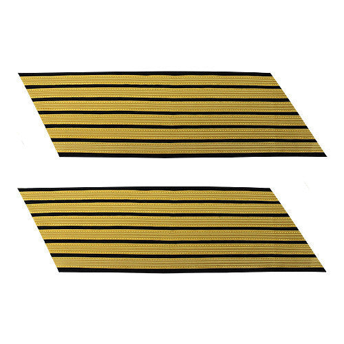 Army Service Stripe: Gold Embroidered on Blue - female, set of 6