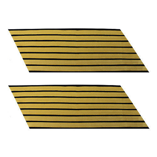 Army Service Stripe: Gold Embroidered on Blue - female, set of 7