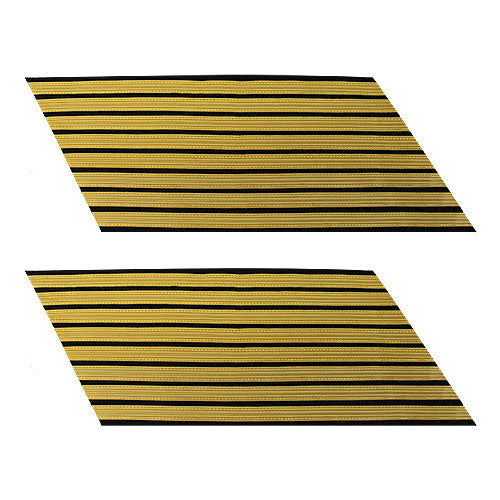 Army Service Stripe: Gold Embroidered on Blue - female, set of 8