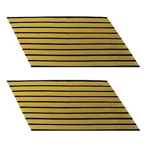 Army Service Stripe: Gold Embroidered on Blue - female, set of 9