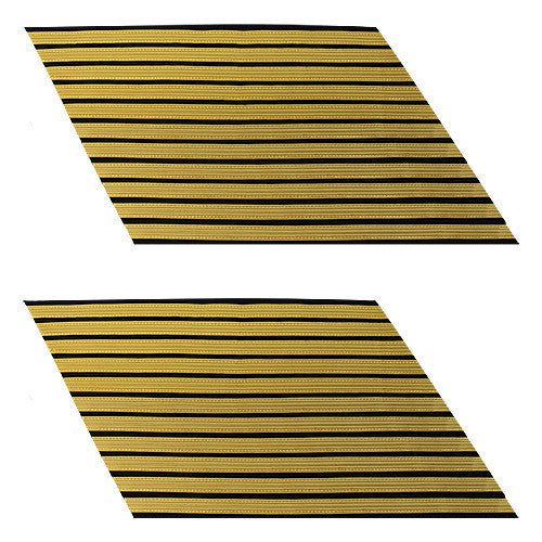 Army Service Stripe: Gold Embroidered on Blue - female, set of 11