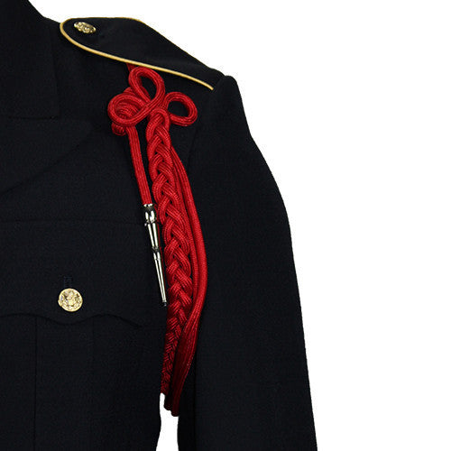 Army Shoulder Cord: 2720 Scarlet Red Rayon with Silver Tip