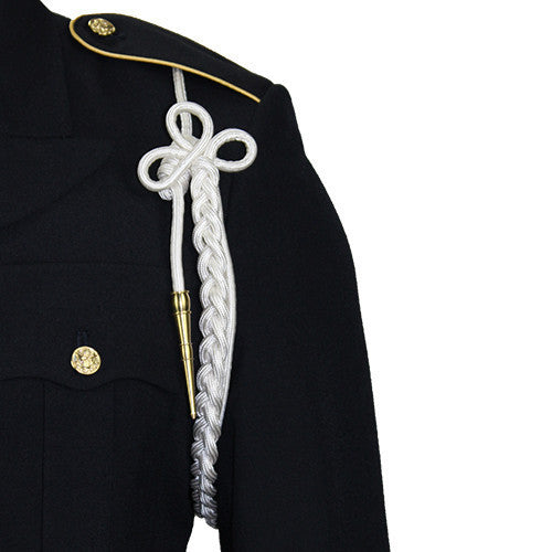 Army Shoulder Cord: 2720 White Rayon with Brass Tip