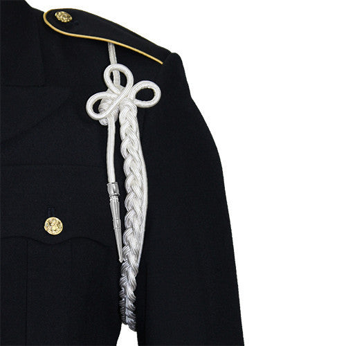 Army Shoulder Cord: 2720 White Rayon with Silver Tip