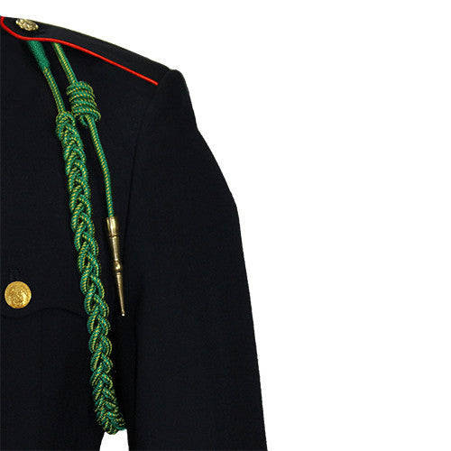Marine Corps Fourragere Lanyard: WWI - green with gold spots and brass tip