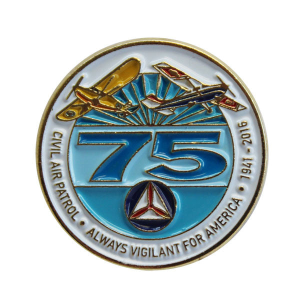 Civil Air Patrol Lapel Pin: 75TH Anniversary on white background