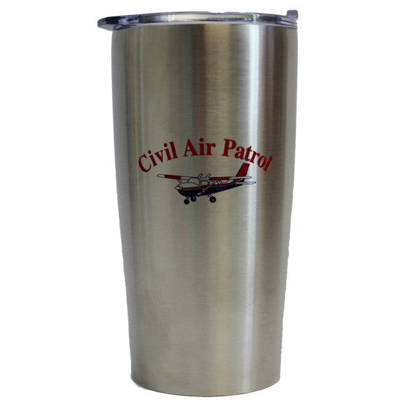 Civil Air Patrol Tumbler: Silver with Cessna - No Spill