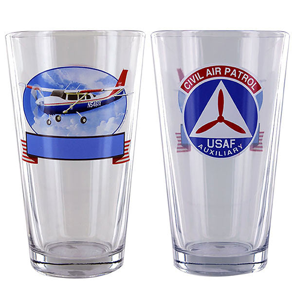 Civil Air Patrol: Personalized Pint Glass w/ CAP Emblem & Cessna