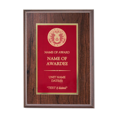 CAP Plaque: Red plate mounted on Cherry wood - engraving plate