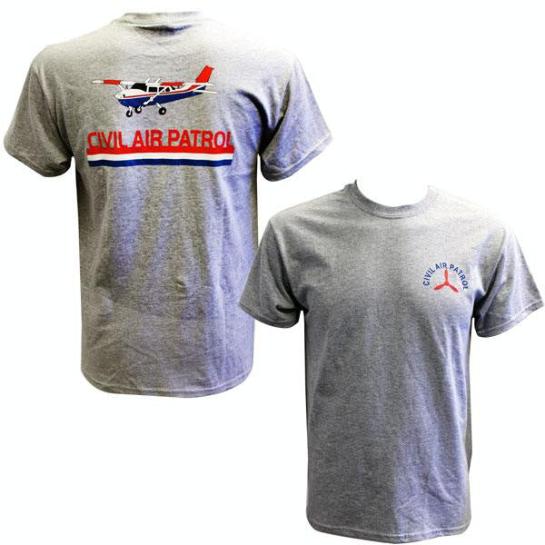 Civil Air Patrol Leisure T-Shirt: Heather Grey w/screened cessna