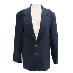 Female Cut Simple Navy Blue Blazer