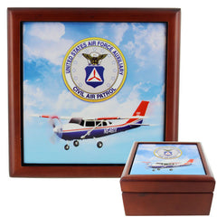 Civil Air Patrol: Keepsake wooden box w/ Tile Top