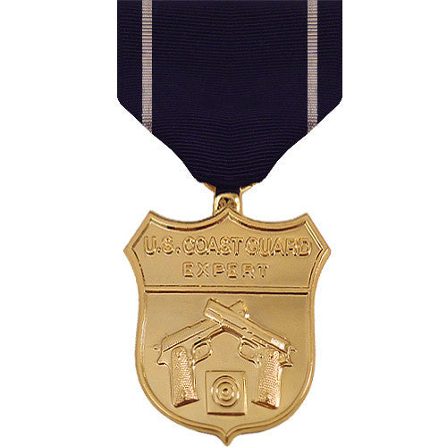 Full Size Medal: Coast Guard Expert Pistol - 24k Gold Plated