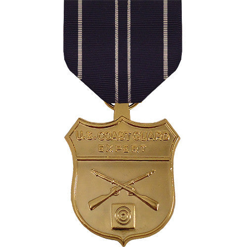 Full Size Medal: Coast Guard Expert Rifle - 24k Gold Plated