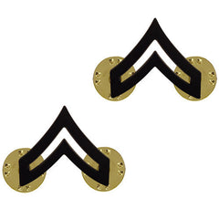 Army Chevron: Corporal: CPL - black metal