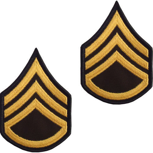 Army Chevron: Staff Sergeant - gold embroidered on green, male