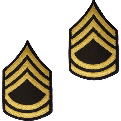 Army Chevron: Sergeant First Class - gold embroidered on green, male (NON-RETURNABLE/NON-REFUNDABLE)