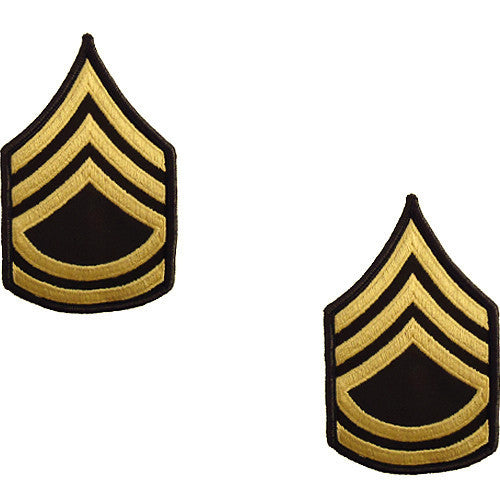 Army Chevron: Sergeant First Class - gold embroidered on green, female (NON-RETURNABLE/NON-REFUNDABLE)