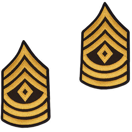 Army Chevron: First Sergeant - gold embroidered on green, male (NON-RETURNABLE/NON-REFUNDABLE)