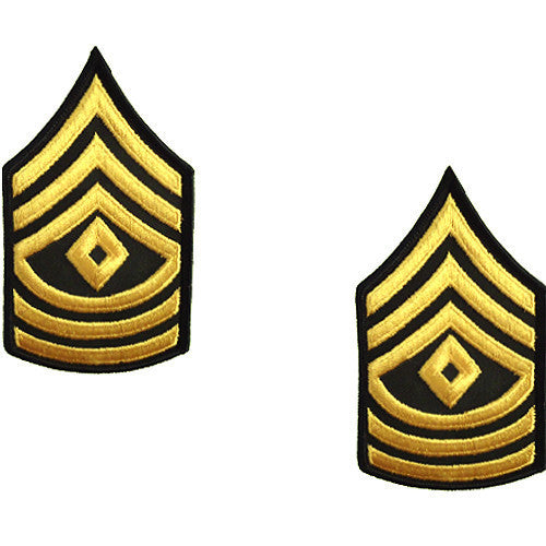 Army Chevron: First Sergeant - gold embroidered on green, female (NON-RETURNABLE/NON-REFUNDABLE)