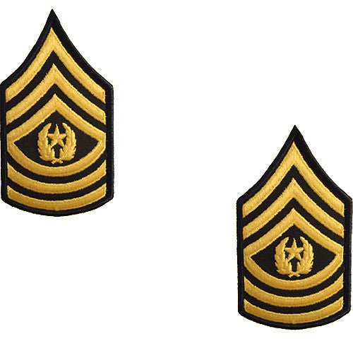 Army Chevron: Command Sergeant Major - gold embroidered on green, female