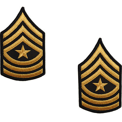 Army Chevron: Sergeant Major - gold embroidered on green, female (NON-RETURNABLE/NON-REFUNDABLE)