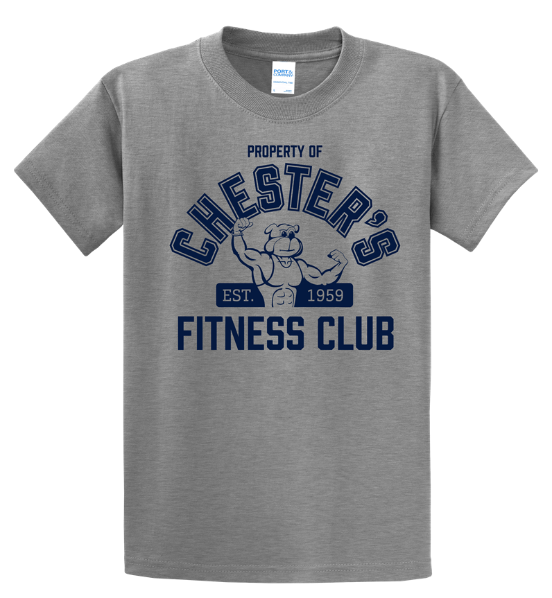Chester's Fitness Club T-Shirt: Heather Gray, Ladies