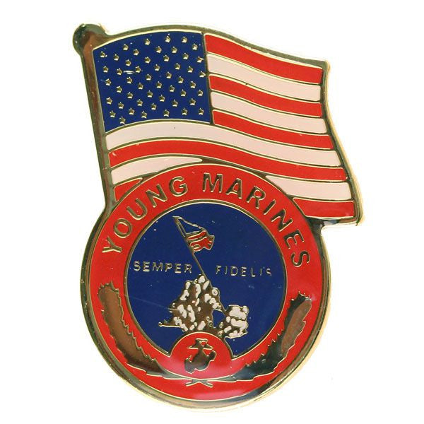 Young Marine's: Lapel Pin - Young Marines Logo with US Flag