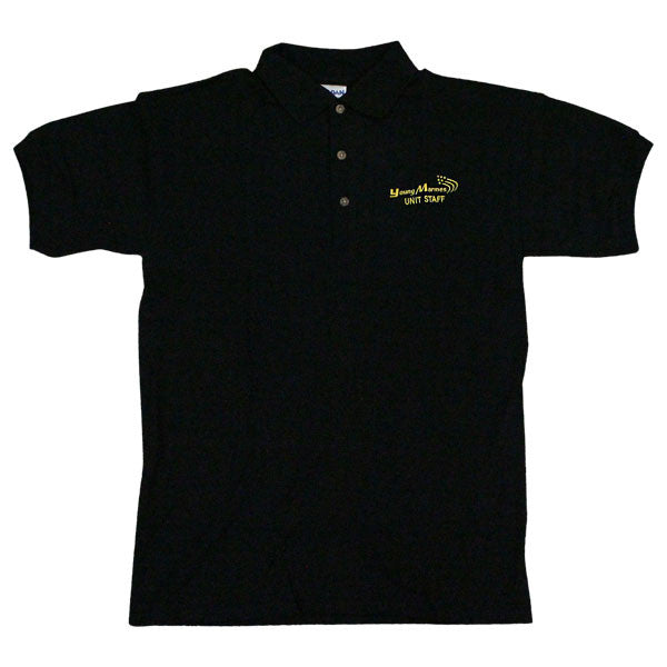 Young Marines Black Staff Polo Shirt Embroidered w/ Young Marines Swoosh Logo and Staff