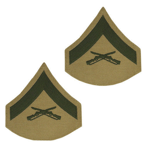 Marine Corps Chevron: Lance Corporal - green embroidered on khaki, female