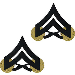 Marine Corps Chevron: Corporal - black metal, solid brass